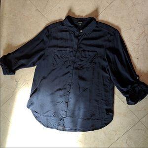 Ann Taylor Navy Blue Button Down Silk Blouse M Pet